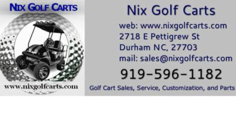 Nix Golf Carts - Welcome to Nix Golf Carts in Durham NC Golf Cart Accessories Com Html on